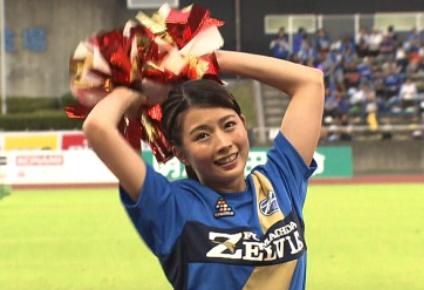 【動画フル】田中萌のチアダンスがかわいい!サッカー応援で足上げ!